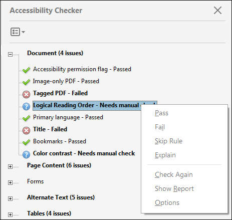 Accessibility Checker In Acrobat