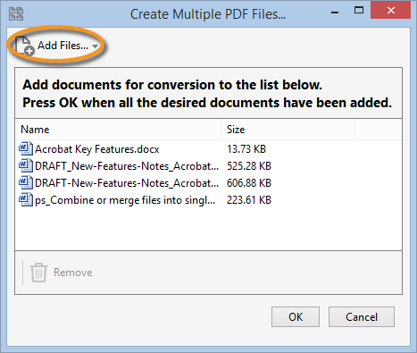 Create Multiple PDF Files dialog box