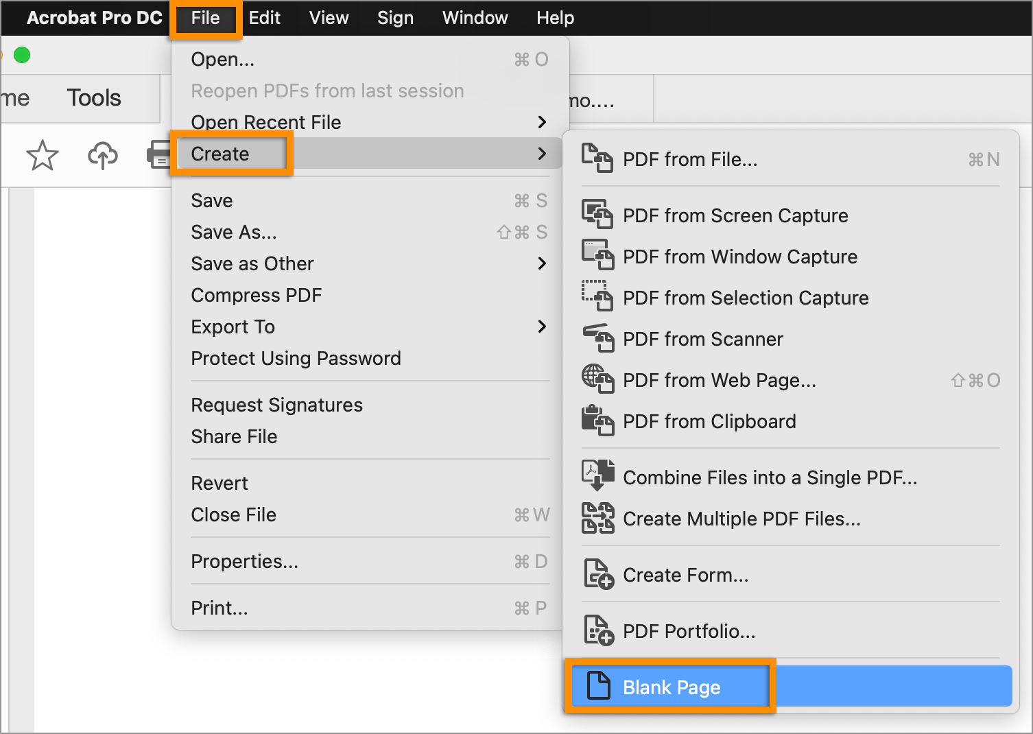 Create a blank page PDF from the file menu
