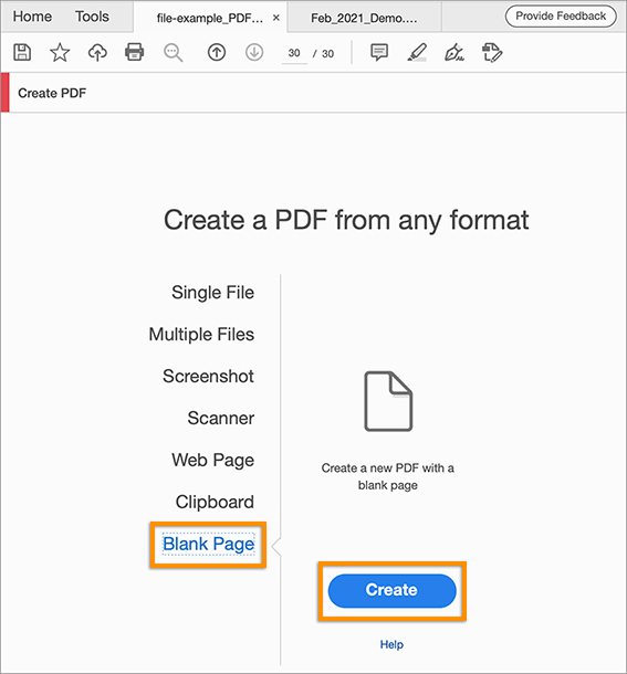Create a blank PDF from Tools > Create PDF