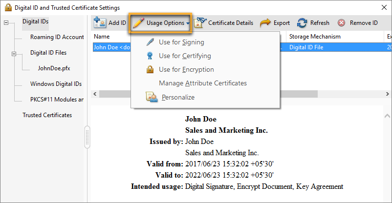 Select the options for which you want the digital ID as the default
