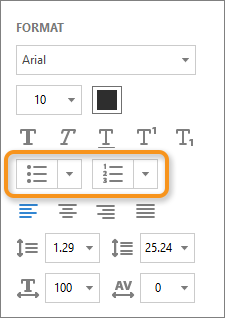 Formatting options