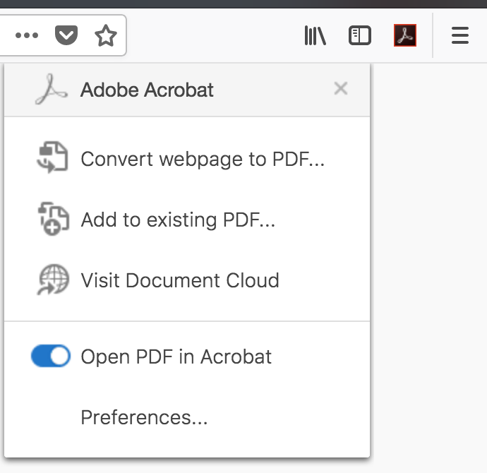 Enable Create PDF extension for Mozilla Firefox, Adobe Acrobat