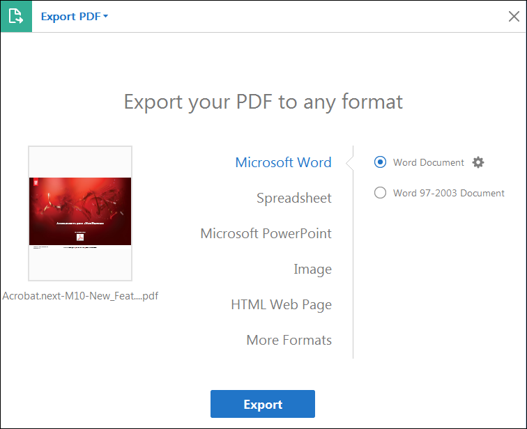 Export PDF options