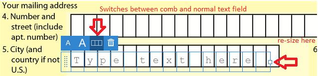Comb field and normal text field
