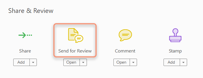 Send for Comments option in Tools pane
