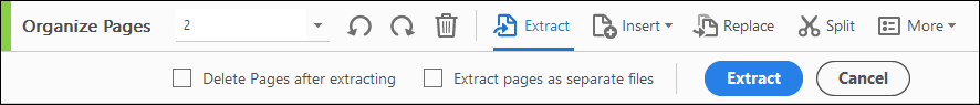 Extract pages secondary toolbar