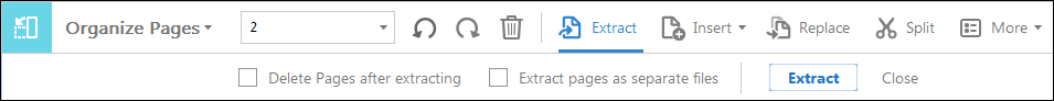 Extract pages secondary toolbar.