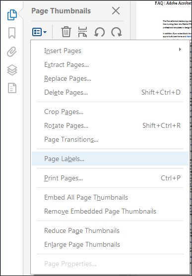 Choose Page Labels