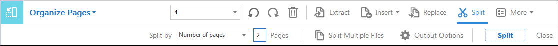 Split Page Secondary Toolbar