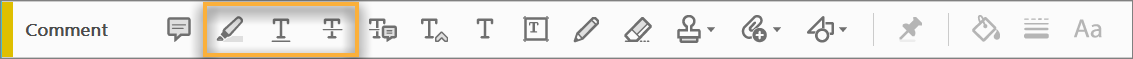 Menu bar for Highlight Text tool, Strikethrough Text tool, and Underline Text tool