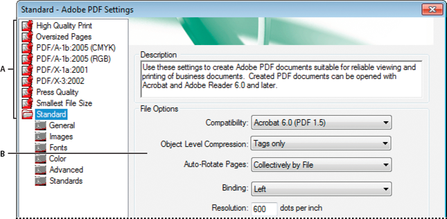 Adobe PDF Settings dialog box (Windows)