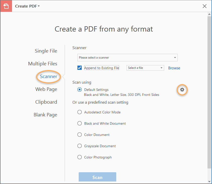 Scan documents to PDF, Adobe Acrobat