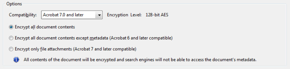 Options control compatibility with previous versions and type of encryption