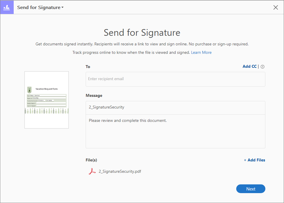 Send for Signature interface