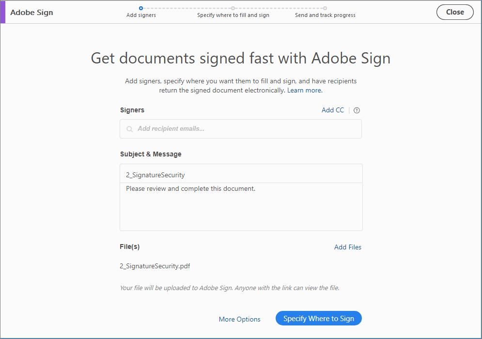 Send documents for signature, Adobe Acrobat Reader DC