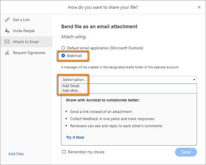 Use webmail to share file