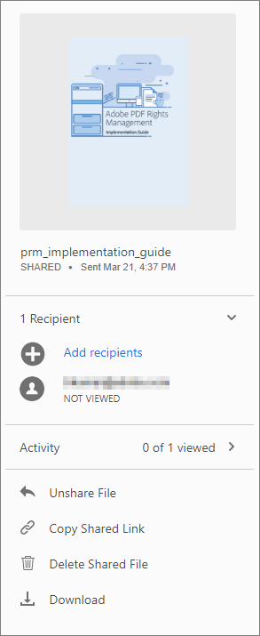 Actions on files shared for viewing