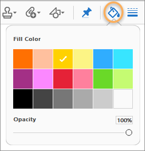 Color Picker on the Comment toolbar