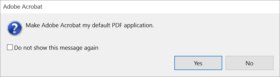 Prompt for making Acrobat the default owner