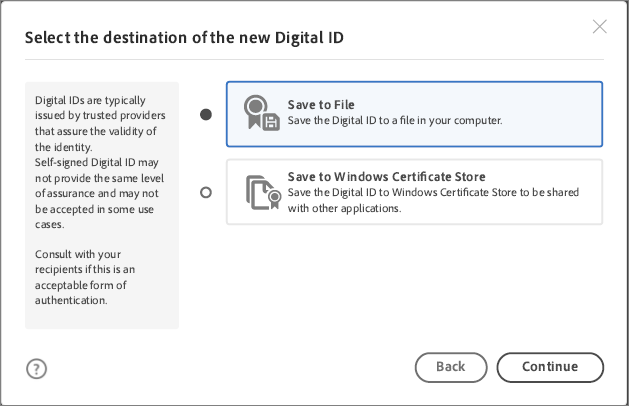Select the location to save the digital ID