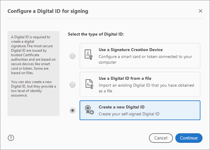 Select the type of Digital ID