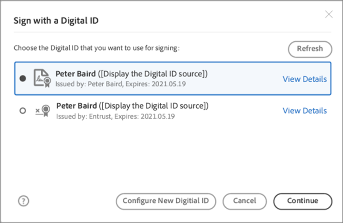 Choose a Digital ID from the list