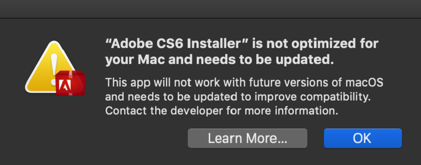 Warning - installer not optimized for your Mac