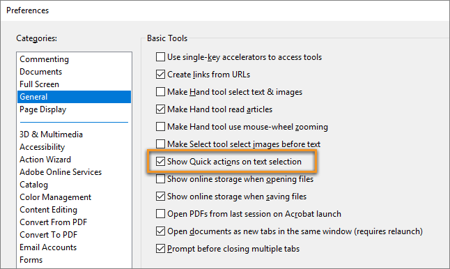 Show or Hide the Quick Action toolbar