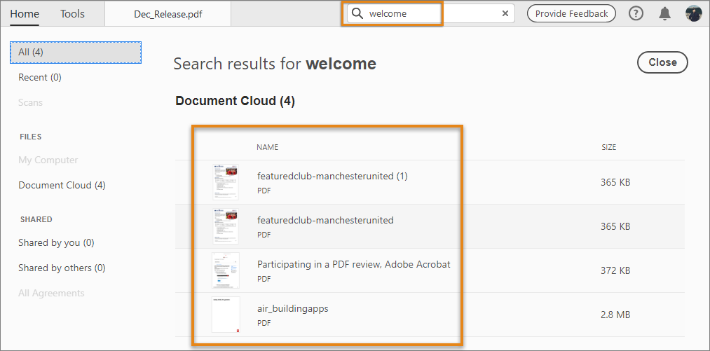 For Document Cloud files, search results include content and the filenames