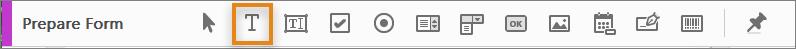 أداة Add Text في شريط أدوات Prepare Form