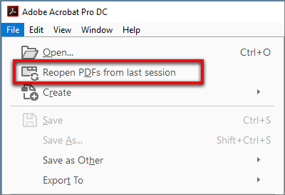 Reopen PDFs from the last session