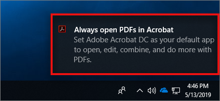 Toast notification to set Acrobat as the default PDF owner