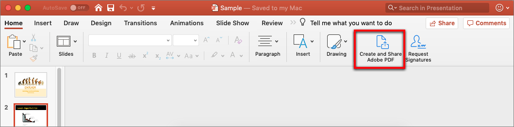 Create and share PDF from Word or PowerPoint on Mac