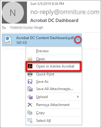 Open in Acrobat from the attachment drop-down list
