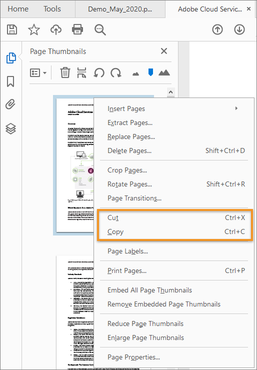 Cut, Copy from the page thumbnails context menu