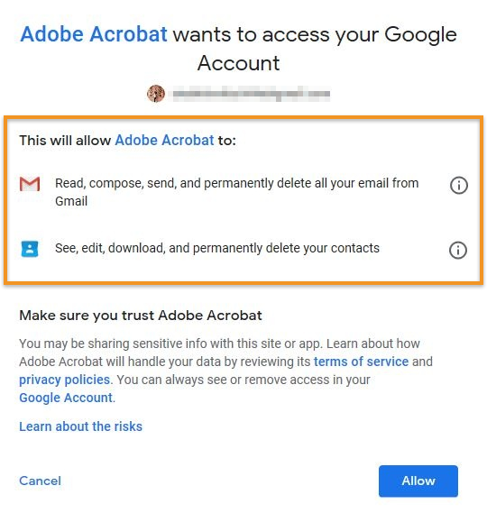 Permissions required by Acrobat to add Gmail account