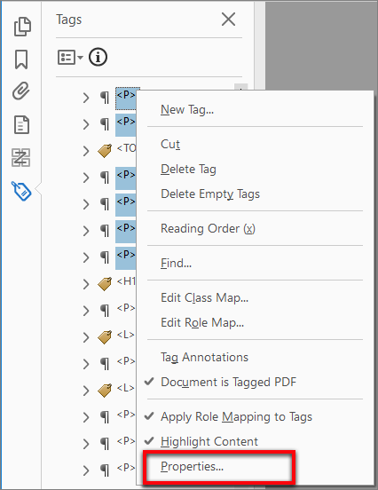 Edit properties of multiple tags