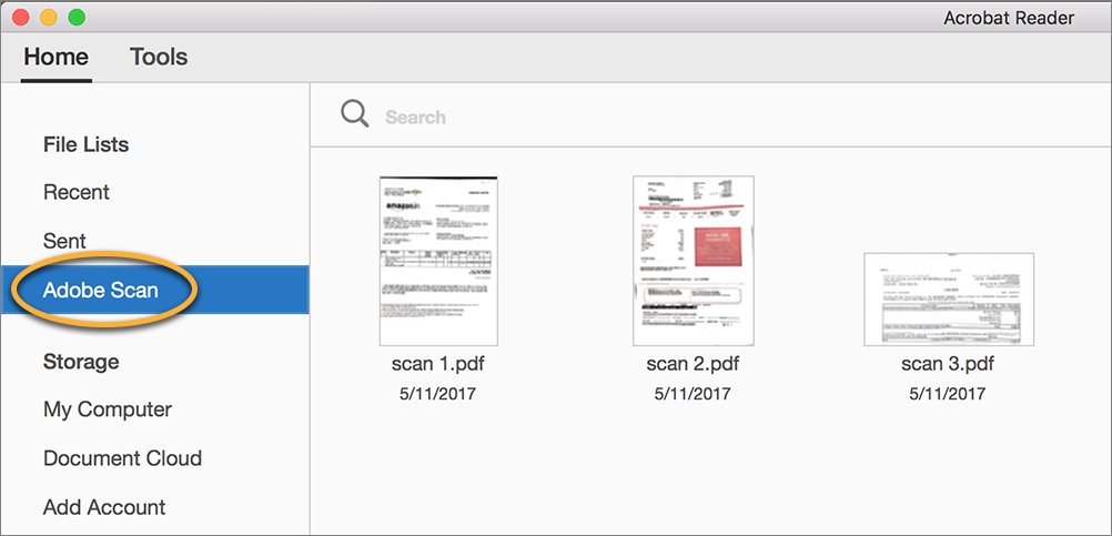 Adobe Scan mobile app files in the Home view