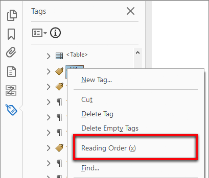 Access the Reading Order tool from the tag tree