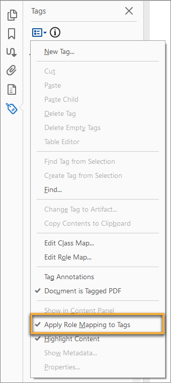 Apply role mapping to tags