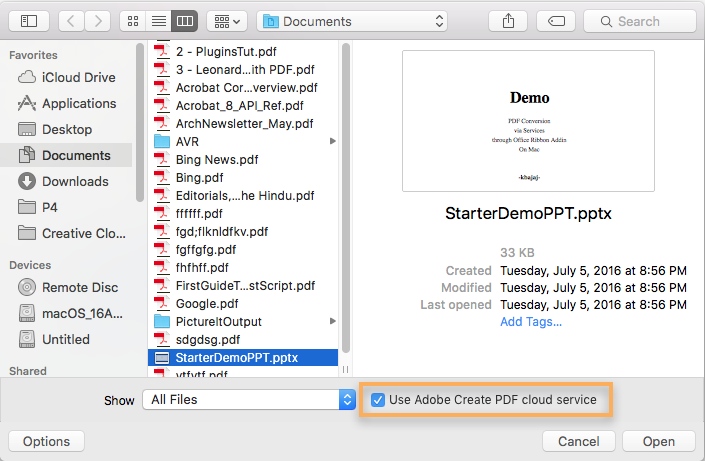 Create PDF using Acrobat online service
