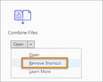 Remove shortcut from the right pane
