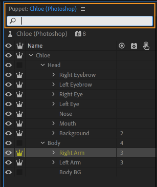Search filter for layers