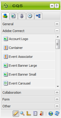 Adobe Connect components available in the Adobe AEM sidekick