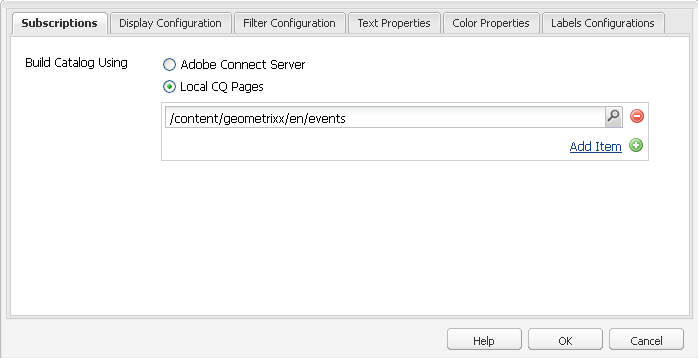Fetch events from either Adobe Connect Server or Local CQ Pages to display in a catalog