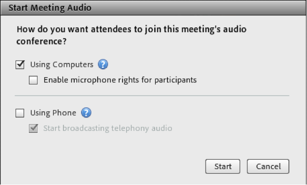 Meeting audio options