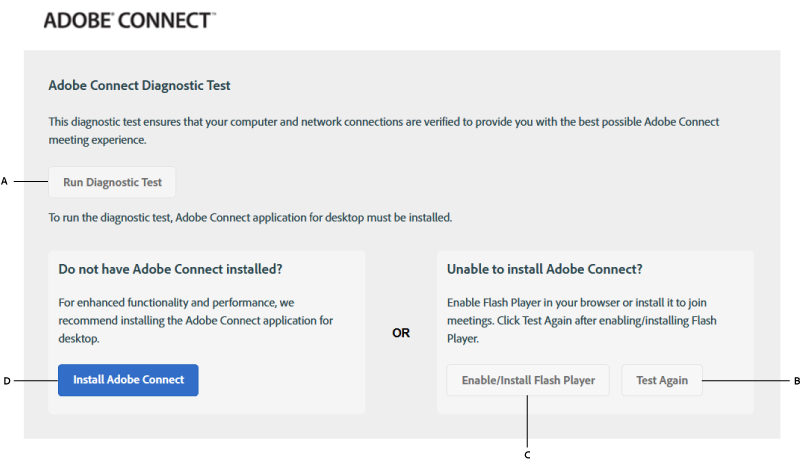 Meeting test results when Adobe Connect and Flash Player are not installed