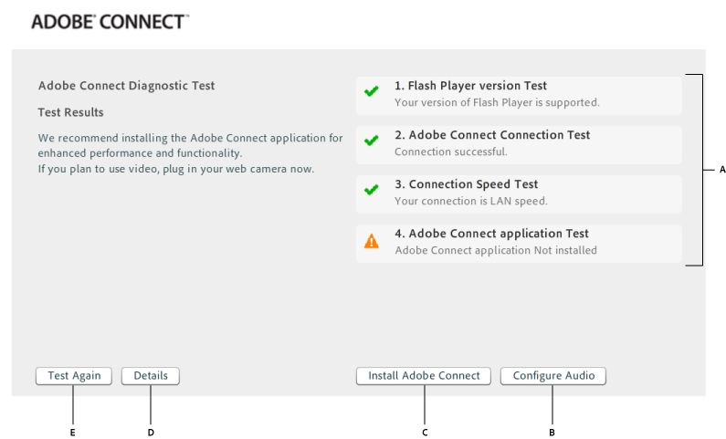 Adobe Connect pre-meeting test results and further actions when Flash Player is enabled in browser