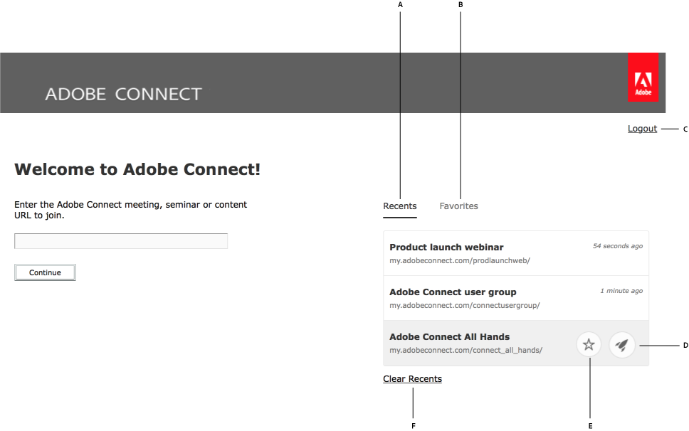 Adobe Connect application Welcome screen